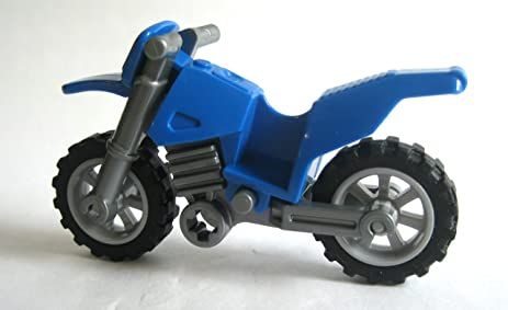 Amazon.com: Lego Blue Motorcycle Dirtbike Vehicle for Minifigures ...