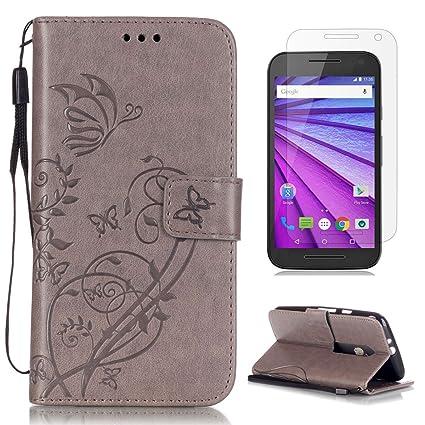 CaseHome Compatible For Motorola Moto G3 Funda Piel PU Cuero Billetera,Mariposa y Flores,Carcasa en Libro [Flip][Card Slots] Protección Gota Prima ...
