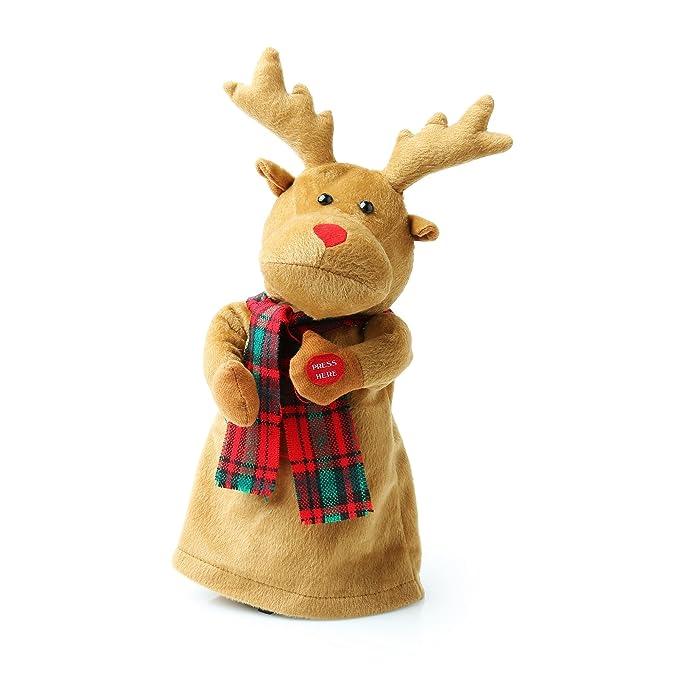 Pupazzo Renna Di Natale Che Canta Jingle Bell Rock Taglia Unica
