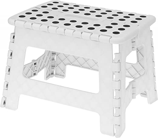 Taburete plegable Escalera plegable camping taburete Escalera Blanco 1 nivel escalón: Amazon.es: Jardín