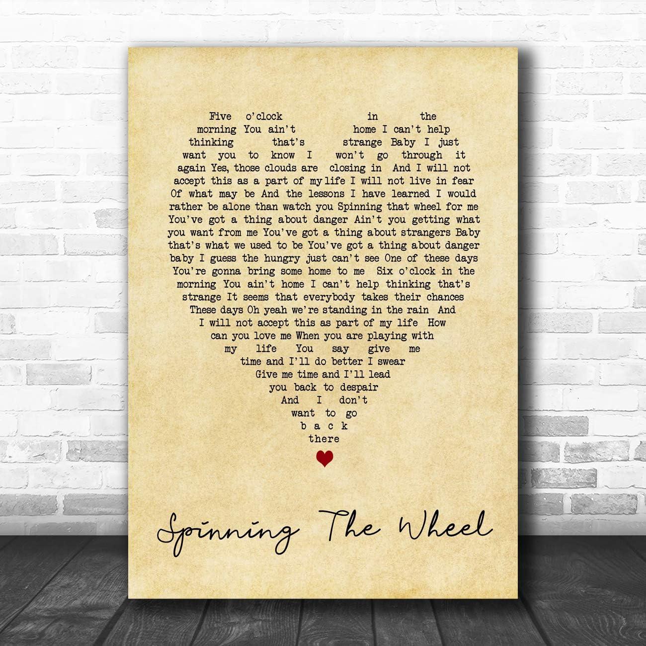 Cita de corazón con impresión de la letra de Spinning The Wheel ...