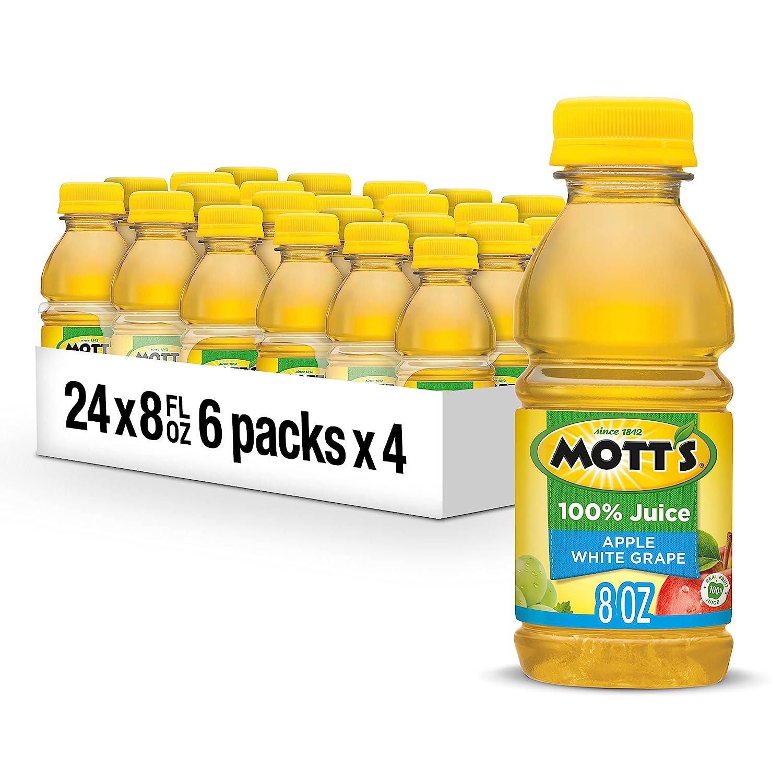 Mott's 100% Apple White Grape Juice, 8 fl oz bottles (Pack of 24)