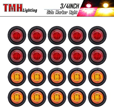 OPAP 10pcs 3//4 inch Round Side 3pcs LEDs Marker Trailer Bullet License with Stainless Steel 304 Trim Ring Bezel Amber Light+Clear Lens