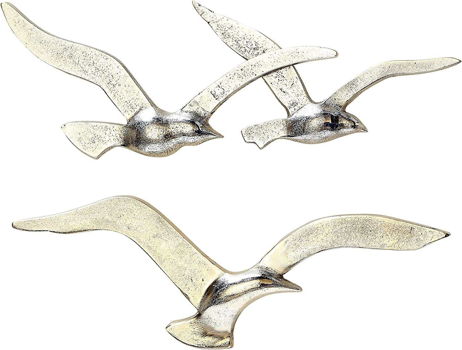 WHW Whole House Worlds Americana Flying Birds Metal Wall Decor Art, Handcrafted, Cast of Fine Silver Aluminum, Bas-Relief, 15.25 Inches Wide and 13.25 Inches Wide