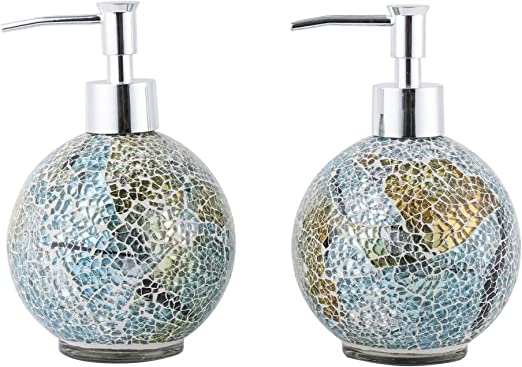 Set Of 2 Soap Dispenser Lotion Bottle Mosaic Glass With Chrome Plated Plastic Pump 14 Ounce Multi Home Kitchen
