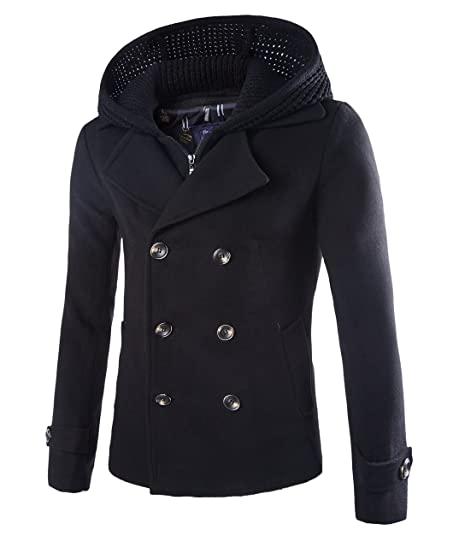 Mens Stylish Fashion Classic Wool Double Breasted Pea Coat with ...