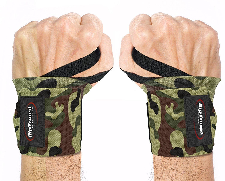 Rip Toned Wrist Wraps - 18'' Professional Grade With Thumb Loops - Wrist Support Braces - Men & Women - Weight Lifting, Crossfit, Powerlifting, Strength Training - Bonus Ebook (Green Camo Medium Stiff) by Rip Toned