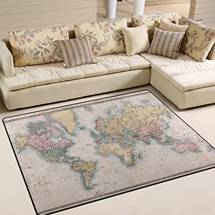 Amazon naanle vintage world map area rug 5x7 educational naanle vintage world map area rug 5x7 educational polyester area rug mat gumiabroncs Images