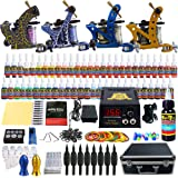 Solong Tattoo® Complete Tattoo Kit 4 Pro Machine Guns 54 Inks Power Supply Foot Pedal Needles Grips Tips Carry Case TK453