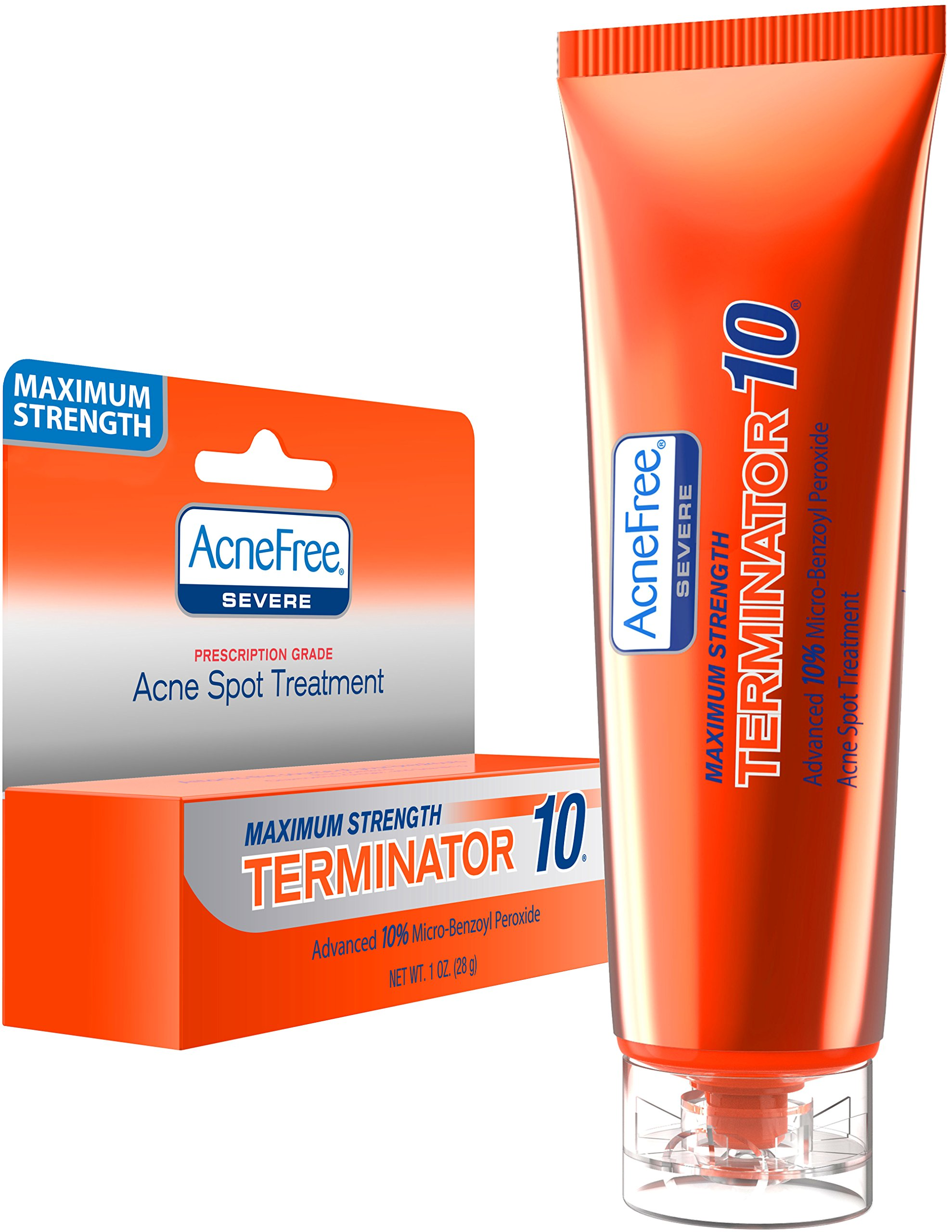 AcneFree Terminator 10 Acne Spot Treatment with Benzoyl Peroxide 10% Maximum Strength Acne Cream Treatment, 1 Ounce - Pack Of 1