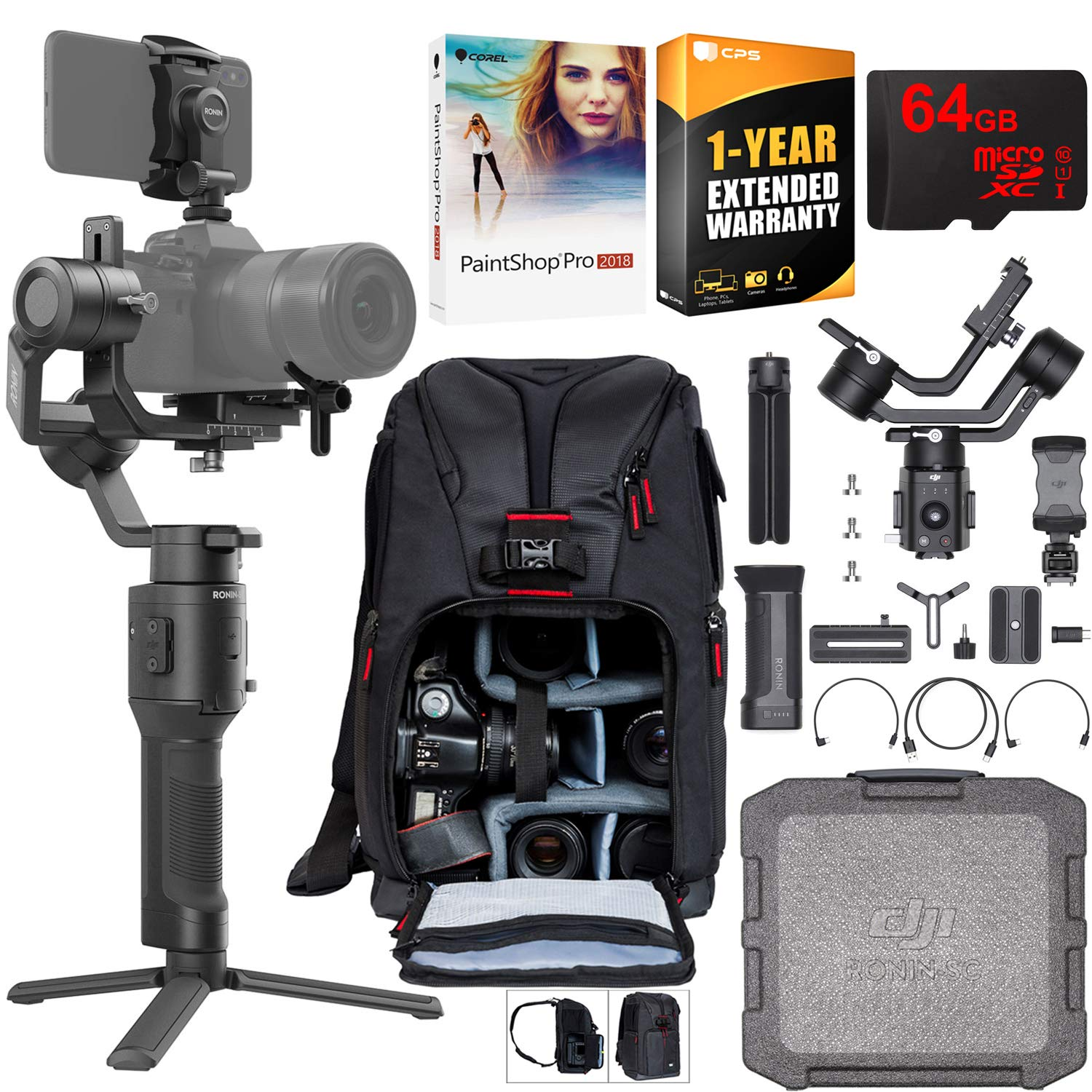 DJI Ronin-SC 3-Axis Gimbal Stabilizer for Mirrorless Cameras Pro Creative Bundle with Deco Photo Backpack + 64GB High Speed Card + Corel Paintshop Pro Software + 1 Year Warranty Extension by DJI