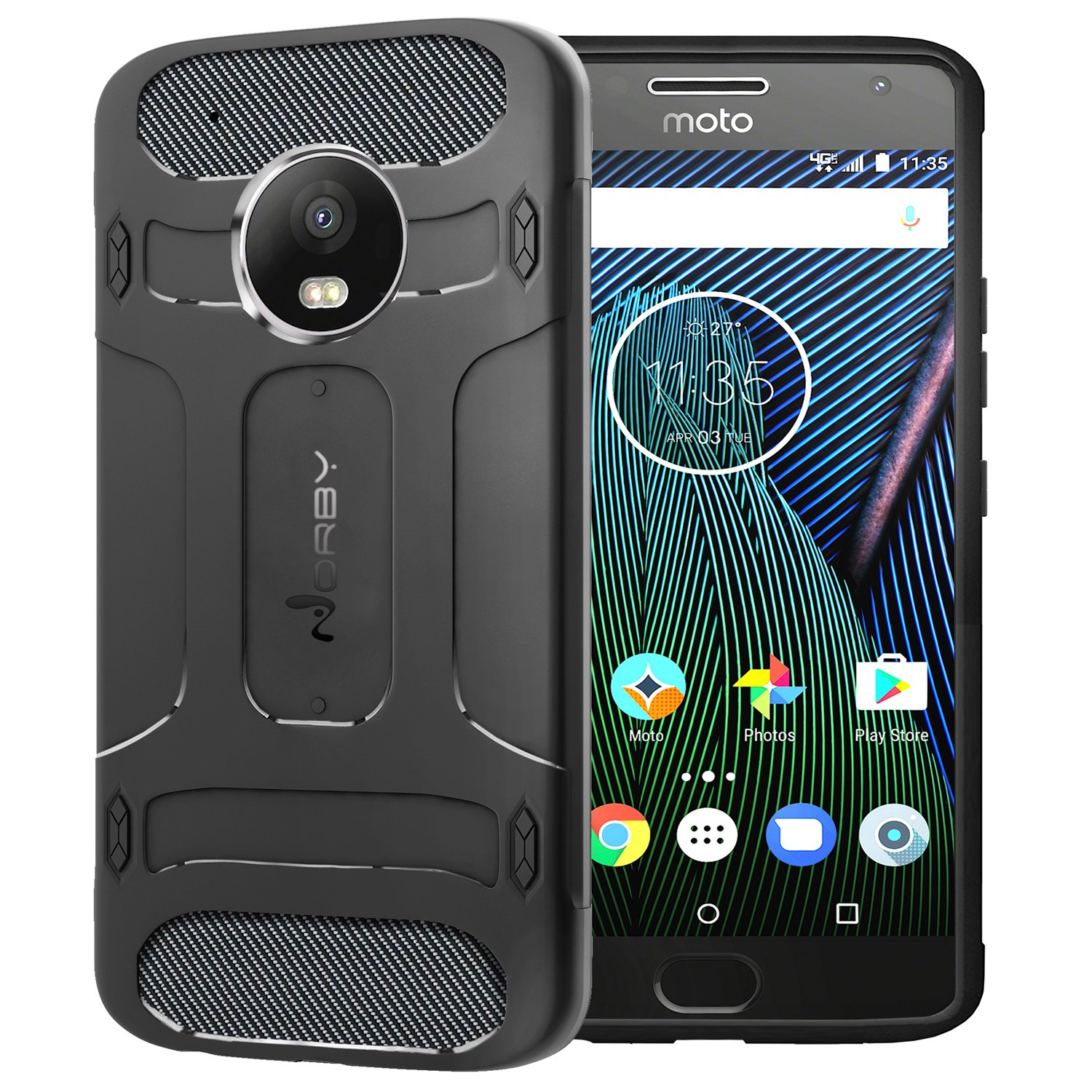 new styles 994c2 9935b Norby Moto G5 Plus Rugged Shock Proof Sleek Armor 360 Degree Protection  Guard Back Cover Case for Motorola Moto G5 Plus (Black) + 6 Months Warranty