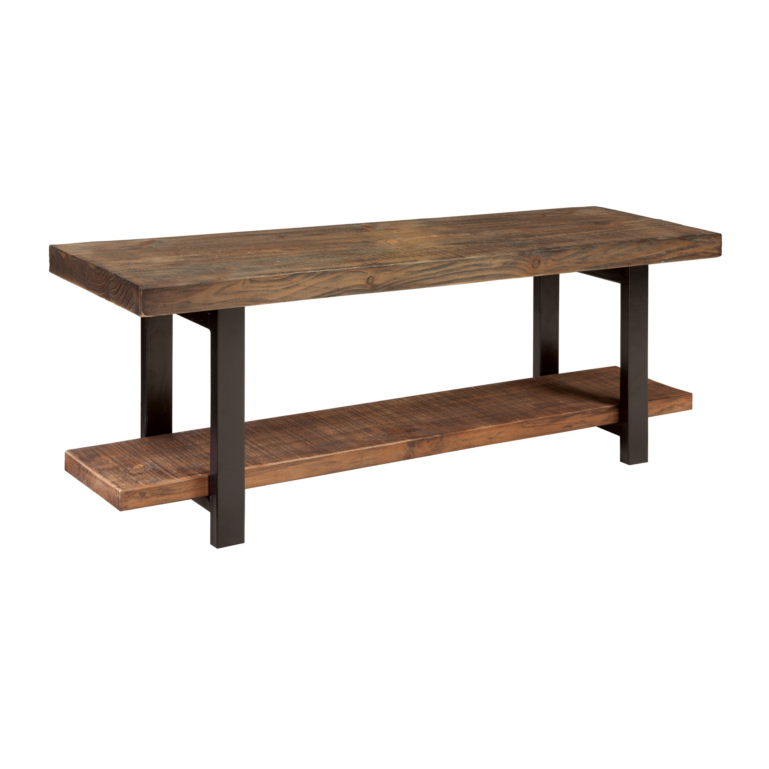 Alaterre Sonoma Reclaimed Wood Bench with Open Shelf, Natural, Brown - AMBA0320 by Alaterre