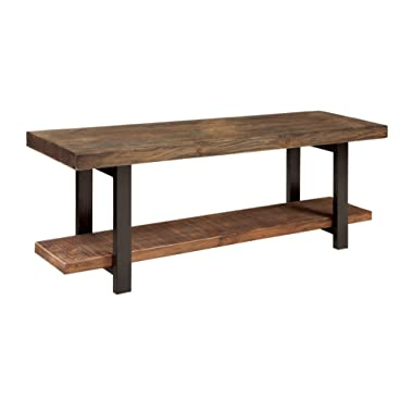 Alaterre Sonoma Reclaimed Wood Bench with Open Shelf, Natural, Brown -
