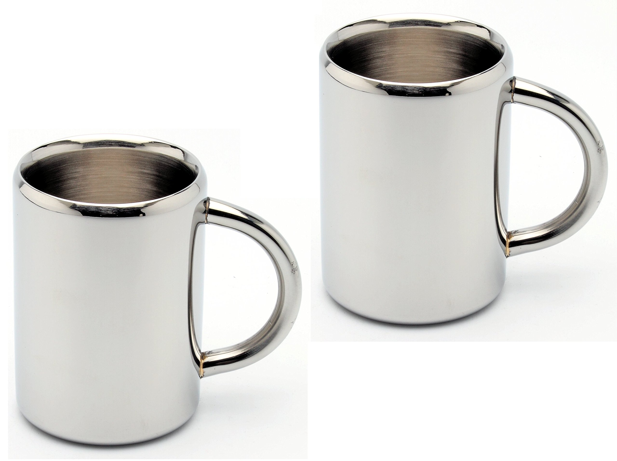Coffee Mugs - Set of 2, High Quality Stainless Steel, Double Wall Mug