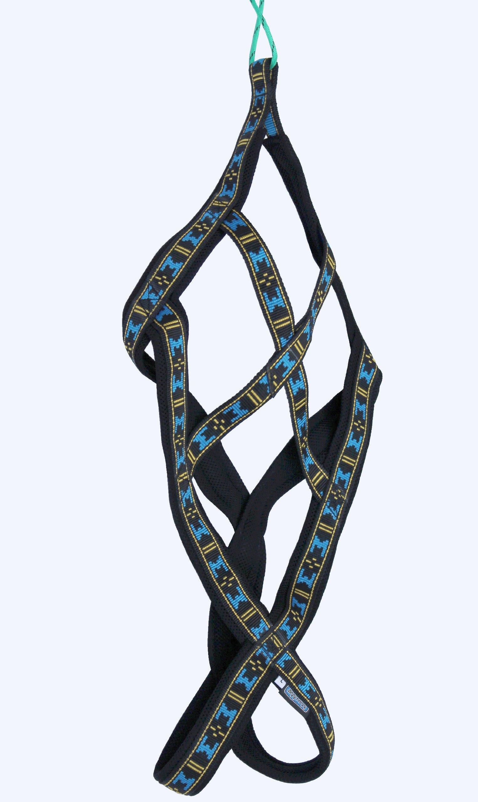 Weight Pulling Sledding Dog Harness X-Back Style Black/Blue XLarge, 22.5'' Neck Circumference.