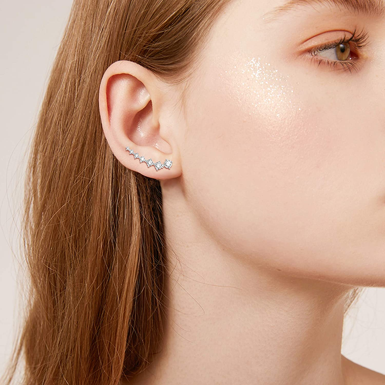 Finreizo 5Pairs Ear Cuffs Earrings Hoop Climber Earrings Stud Ear Climber Jackets Wave Tassel Threader Chain Earring Set
