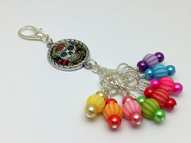 Sugar Skull Knitting Marker Lanyard Jewelry