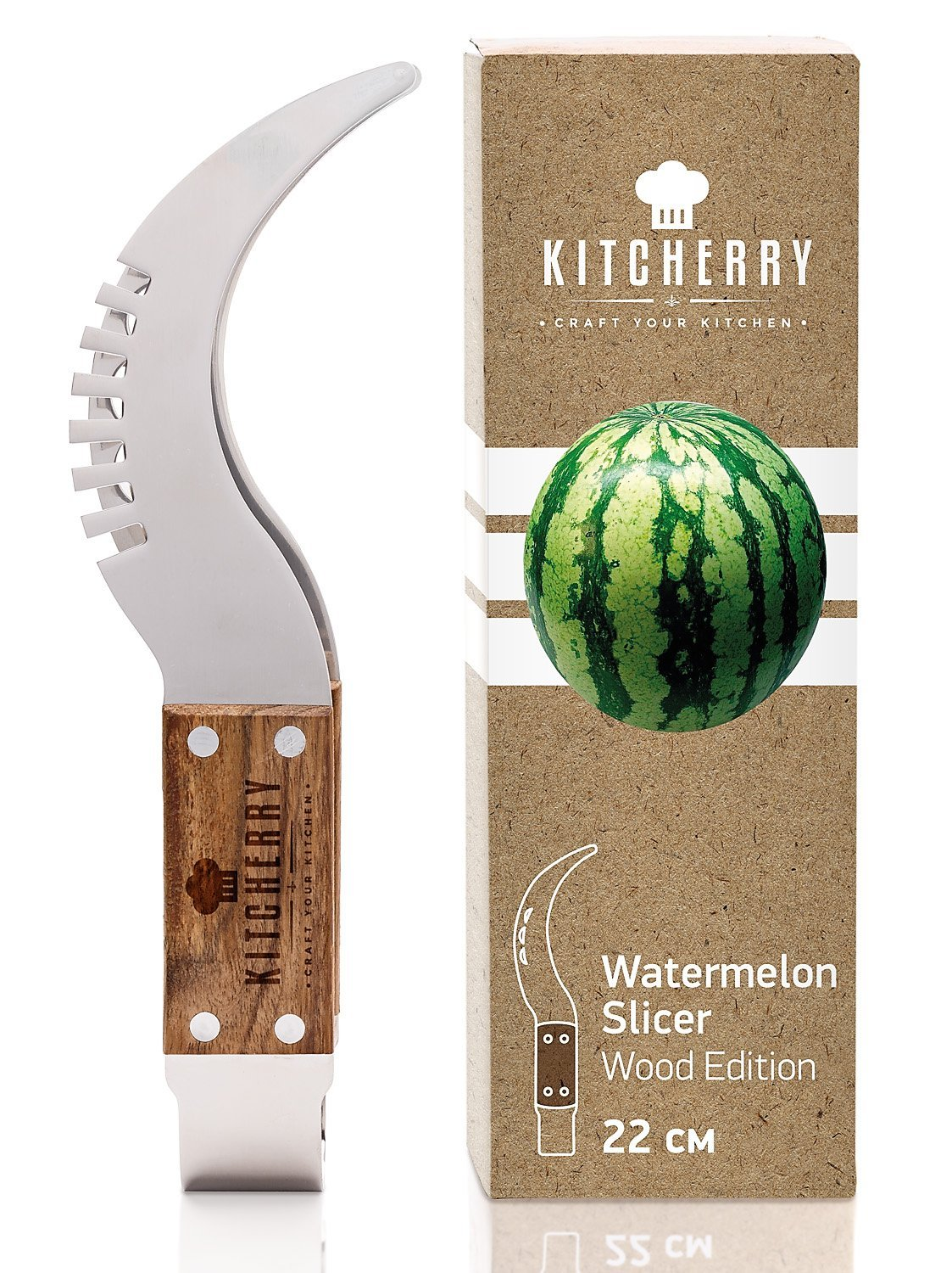 Kitcherry Watermelon Slicer with Wooden Handle, Corer & Server, Durable Stainless Steel 430 with Sturdy Cutting Wire KCHRYWSW