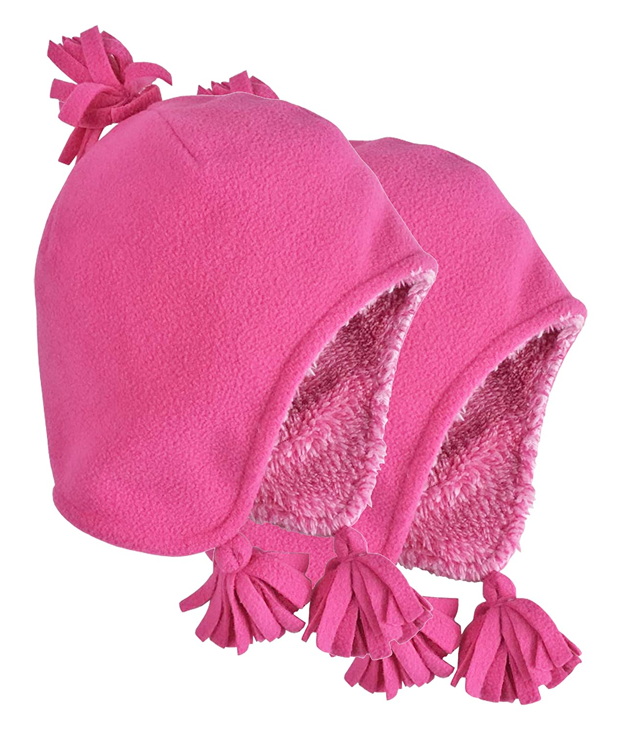 N'Ice Caps Toddler Girls and Baby Sherpa Lined Micro Fleece Winter Hats - 2 Pack