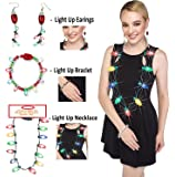 Prextex Christmas LED Light-Up Set Flashing Necklace, Bracelet, and Earrings Adorable Christmas Stocking Stuffers Accessories Set