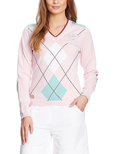 XFORE jersey de punto de golf para mujer con manga larga, cuello pico, con rombos, Park Royal, de co...