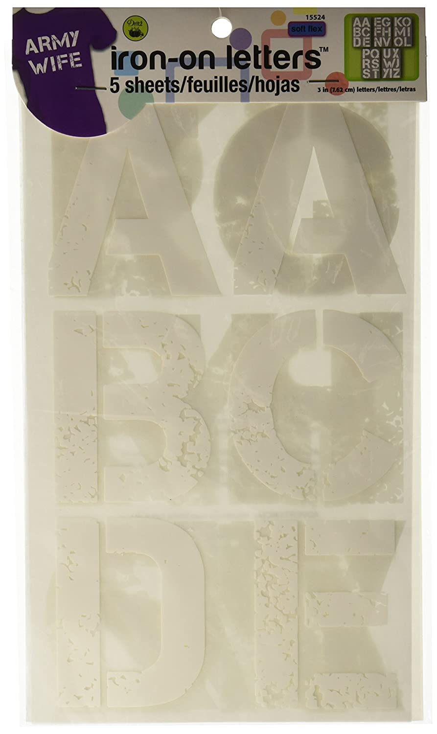 Dritz 15524 Iron-On 3 Distressed Letters, white