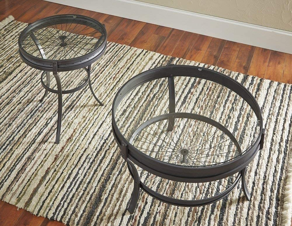 Coaster 705218-CO Round Glass Top Coffee Table, Sandy Black