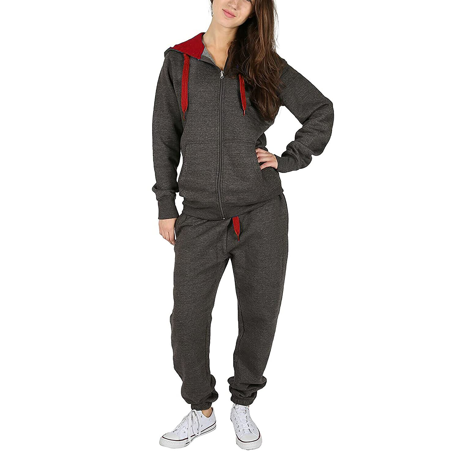 Simply Chic Outlet New Womens Plus Size Contrast Cord Full Zip Brushed Fleece Tracksuit