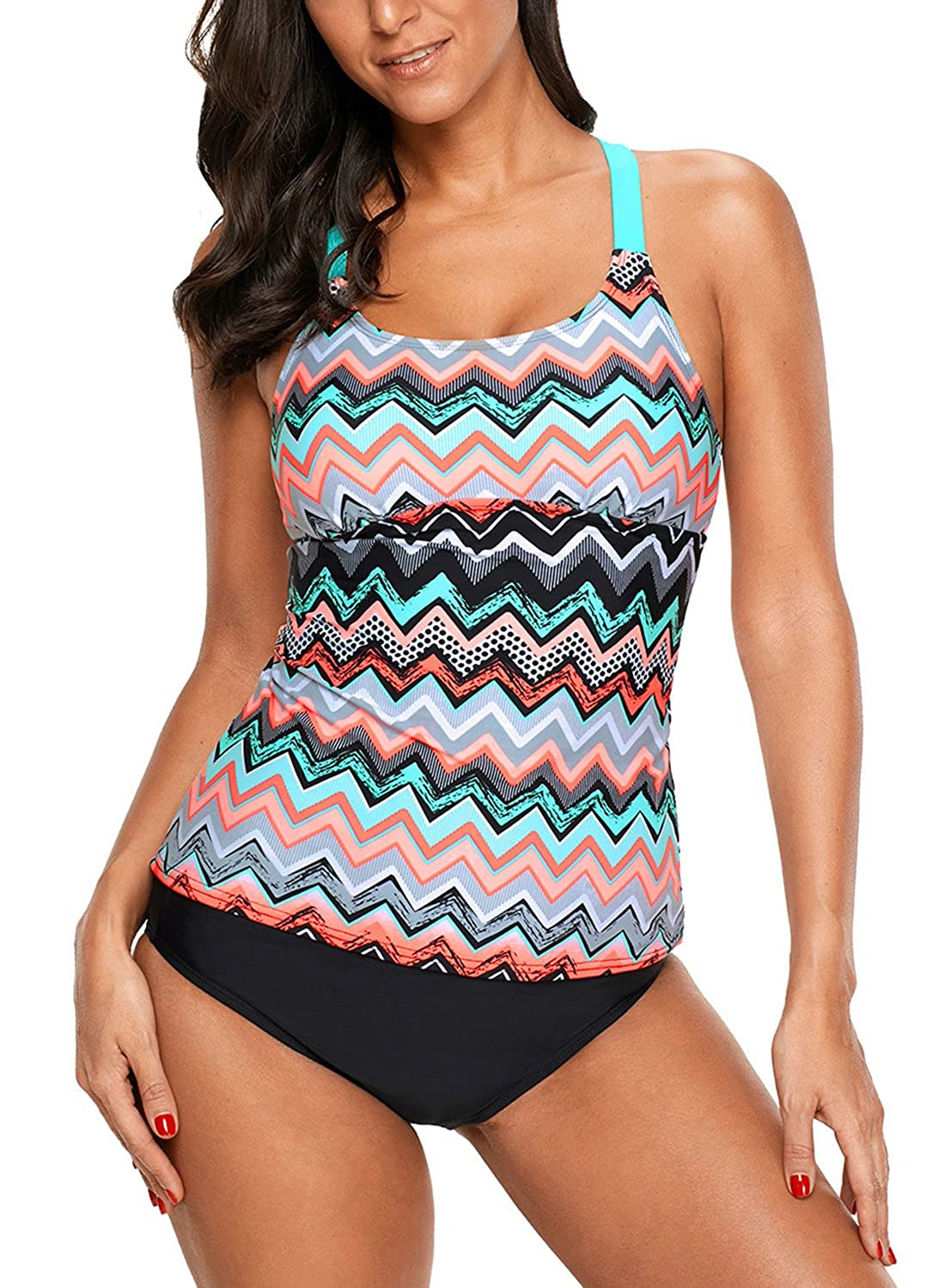 f1b92189e0d Amazon.com: Aleumdr Womens Striped Printed Strappy Racerback Tankini Swim  Top No Bottom S - XXXL: Clothing