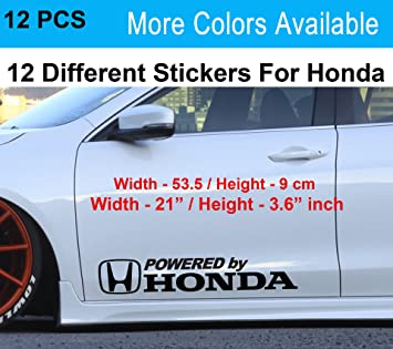 12 pcs Powered By Honda Car Sticker Vinyl Stickers Vinal art sticker Honda civic sticker (