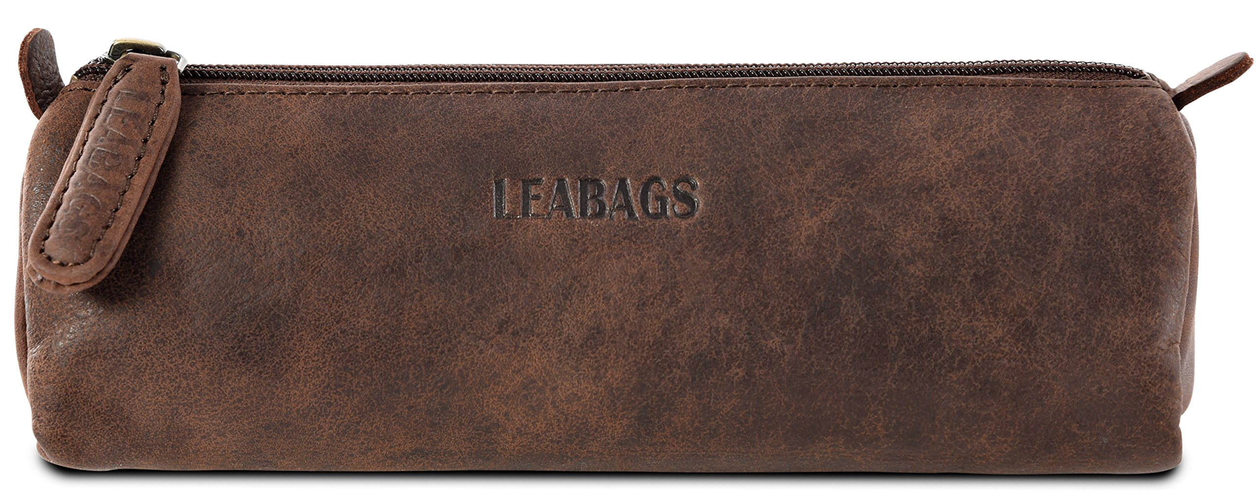 LEABAGS Fort Lauderdale genuine buffalo leather pencil holder in vintage style - Nutmeg