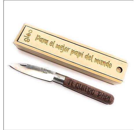 Navaja Personalizable Con Texto Para Regalo Hoja 8cm Acero Inoxidable y Madera Navaja Personalizada Con Nombre