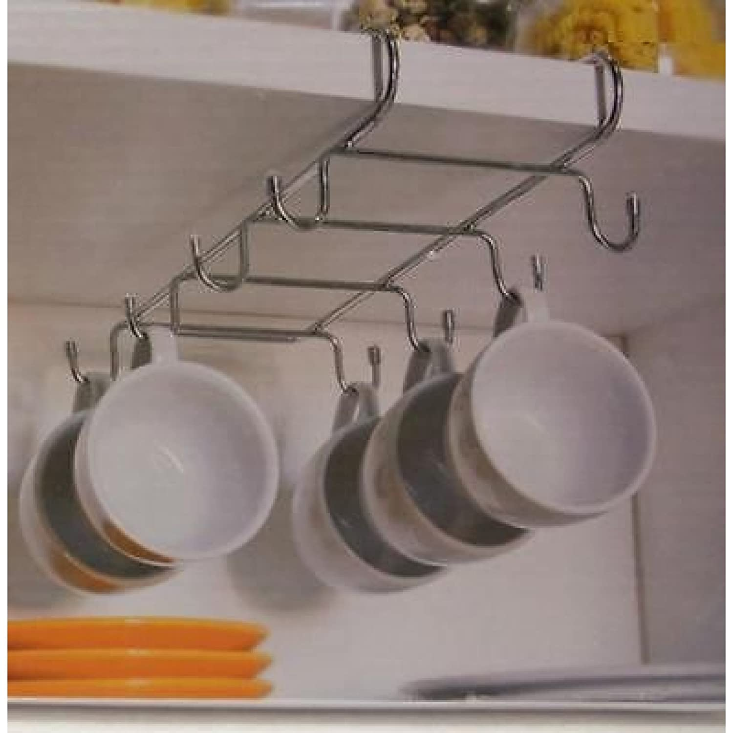 Chrome Plated Under Shelf 8 Hook Mug Cup Holder Tree Storage Accessories