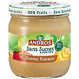 ANDROS Pomme Banane sans Sucre Ajouté 410 g - Lot de 3