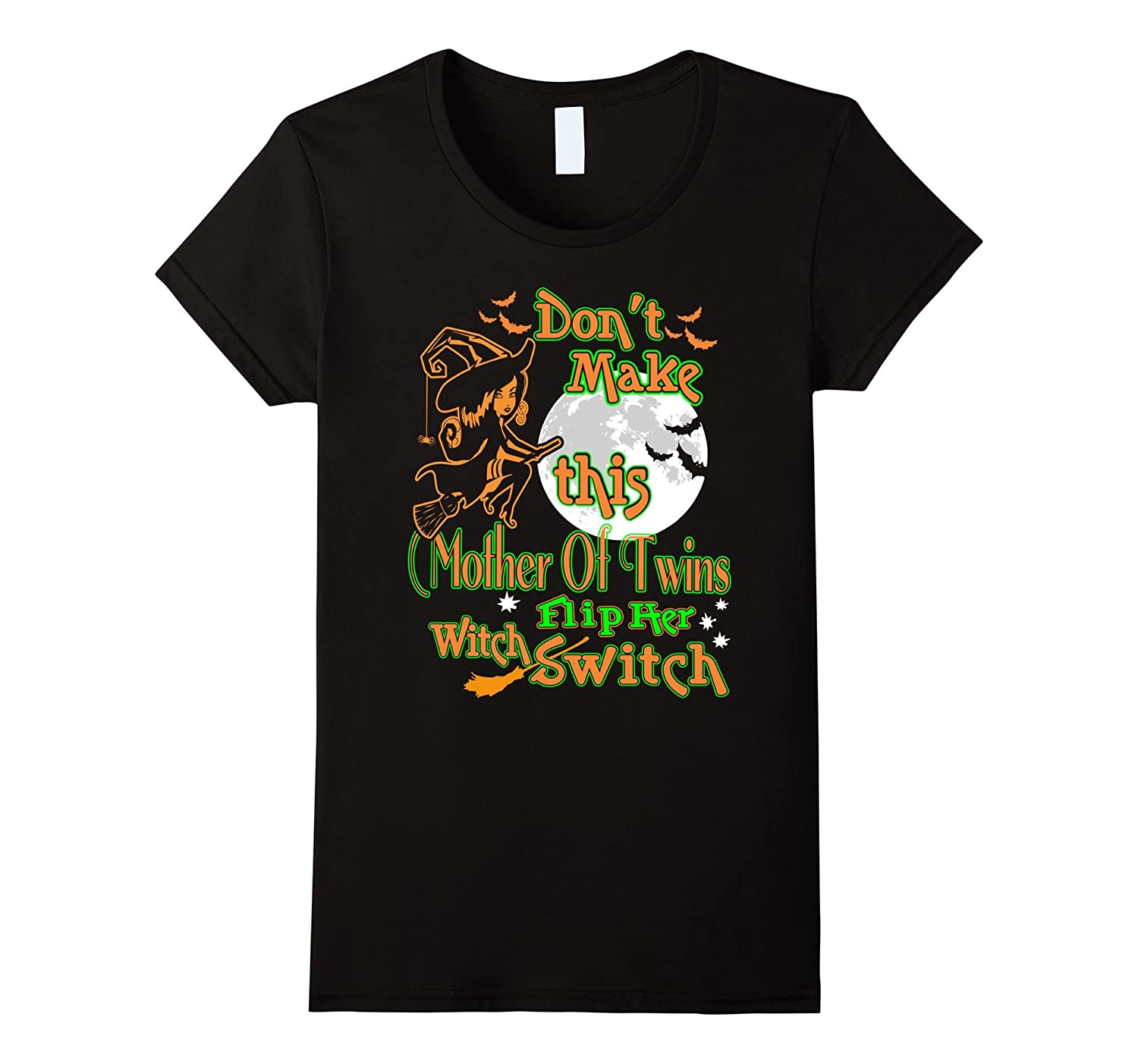 Womens Mother Of Twins Flip Her Witch Switch Halloween Tshirt-FL