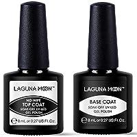 Lagunamoon Gel Nail Polish Set Soak Off UV LED Gel Base Coat and No Wipe Top Coat Gel Polish 2 x 8ML
