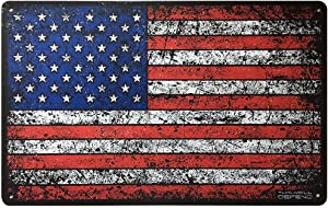"""This Well Defend American Flag Sign 10"""" x 16"""" Tin Metal USA Patriotic Home Decor Garage Shop Office Man Cave America Accessories Gifts for Men"""