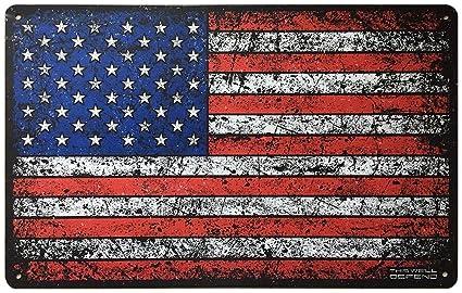 Amazon Com This Well Defend American Flag Sign 10 X 16 Tin Metal