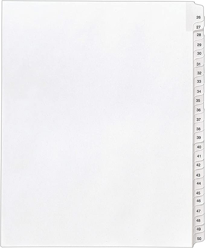 82227 Pack of 25 8.5 x 11 inches Side Tab Avery Individual Legal Exhibit Dividers 29 Allstate Style