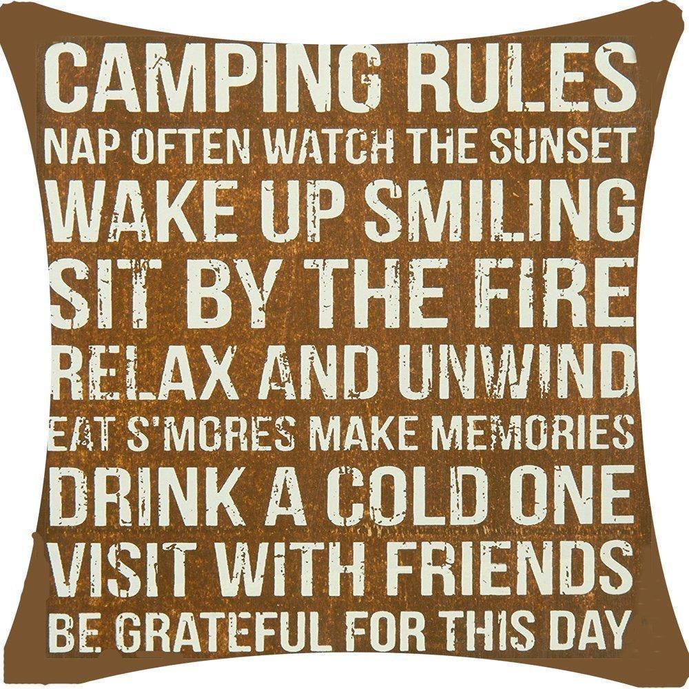 dessf10 18 x 18インチアクリルコーティングコットンキャンプルールWake Up Smilingリラックスand Unwind Be Gratefulこの日の装飾スロー枕カバークッションカバー正方形 B073XJLPRW