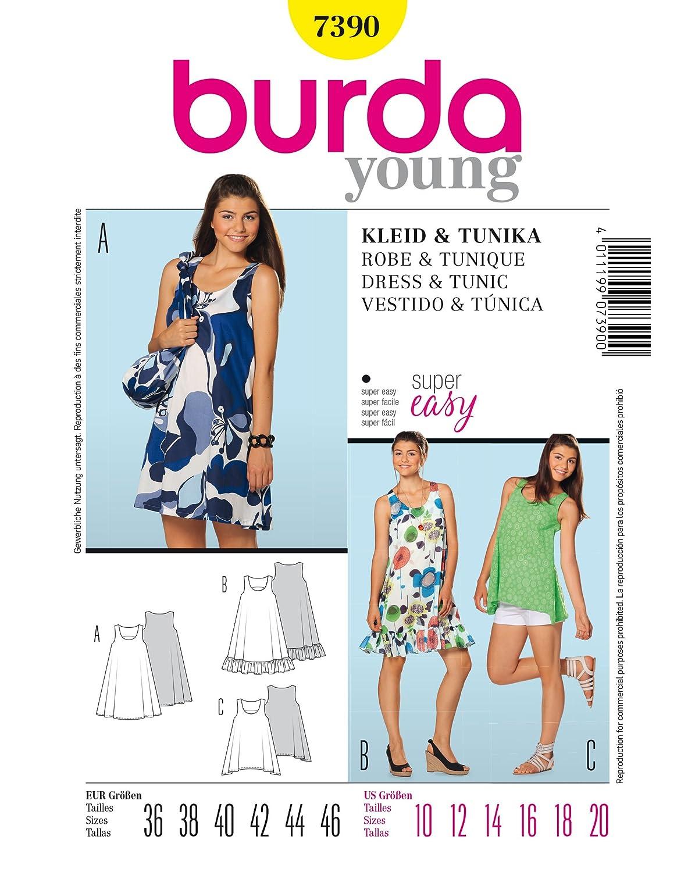 Burda Schnittmuster 7390 Kleid & Tunika Gr. 36-46: Amazon.de: Küche ...
