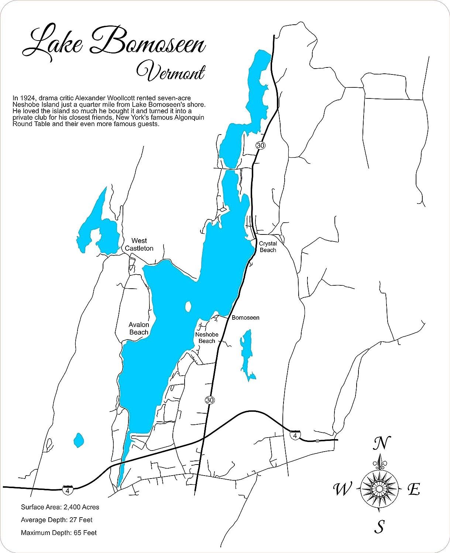 Amazon.com: Lake Bomoseen, Vermont: Standout Wood Map Wall ...