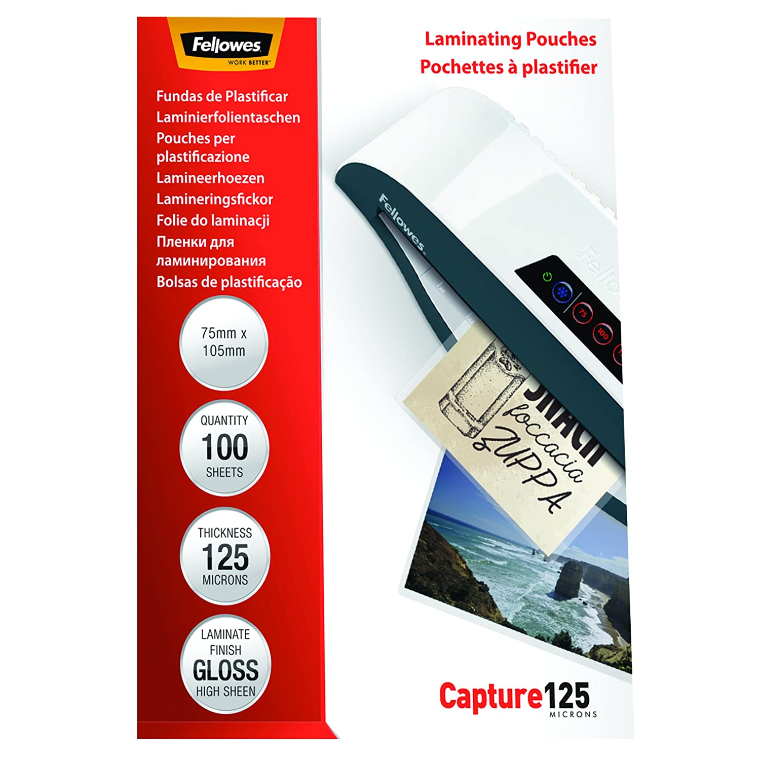 Fellowes Capture 65x95mm 125 Micron Glossy Laminating Pouches (Pack of 100) 53067