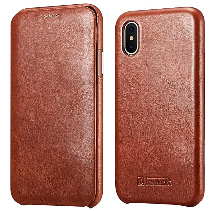 icarercase iPhone X Leather Case, iPhone XS Genuine Vintage Leather Flip  Folio Opening Cover in Curved Edge Design, Side Open Case with Hidden