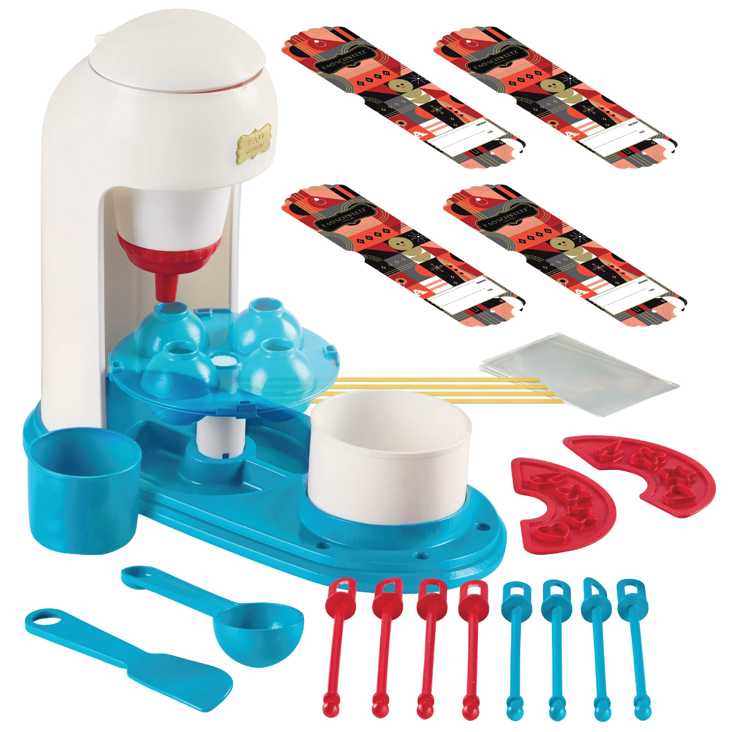 FAO SCHWARZ Kids No-Bake Vanilla Cake Pop Maker Complete DIY Kit, Includes Batter Piping Machine, Mold, 8 Sticks, Spoon, Spatula, Sprinkles Stencils, Mini Mixing Bowls, and Cake Mix & Sprinkles by FAO Schwarz