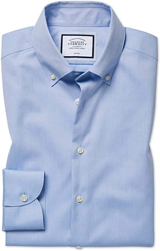 Charles Tyrwhitt Camisa Business Casual Azul Celeste Slim fit sin Plancha con Cuello con Botones: Amazon.es: Ropa y accesorios