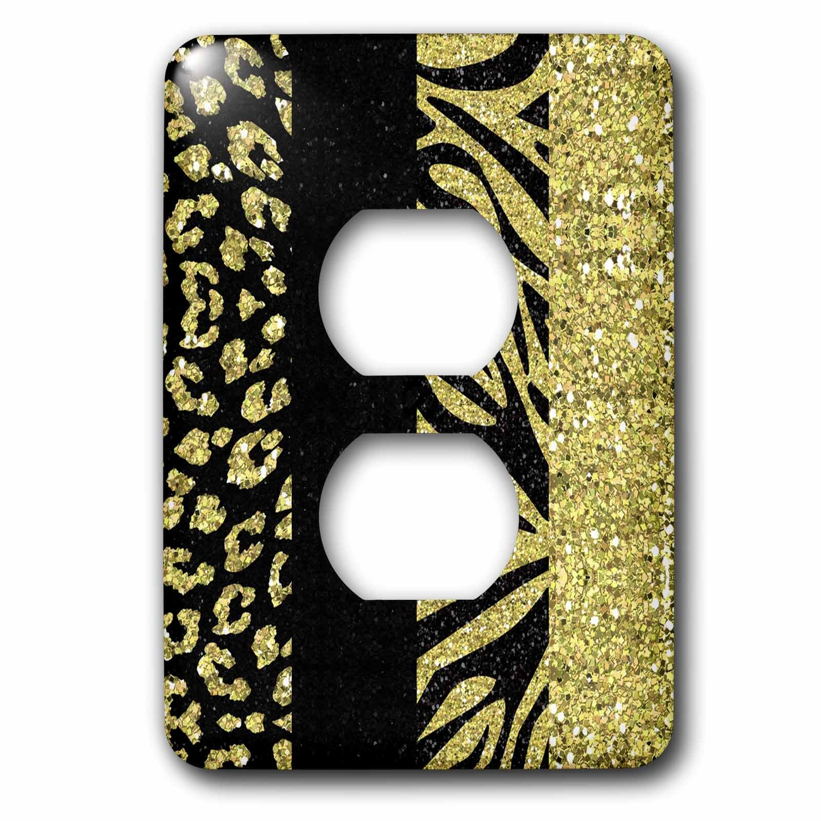 3dRose Lsp_128556_6 Printed Glitter Effect Gold and Black Animal Print - Leopard and Zebra 2 Plug Outlet Cover