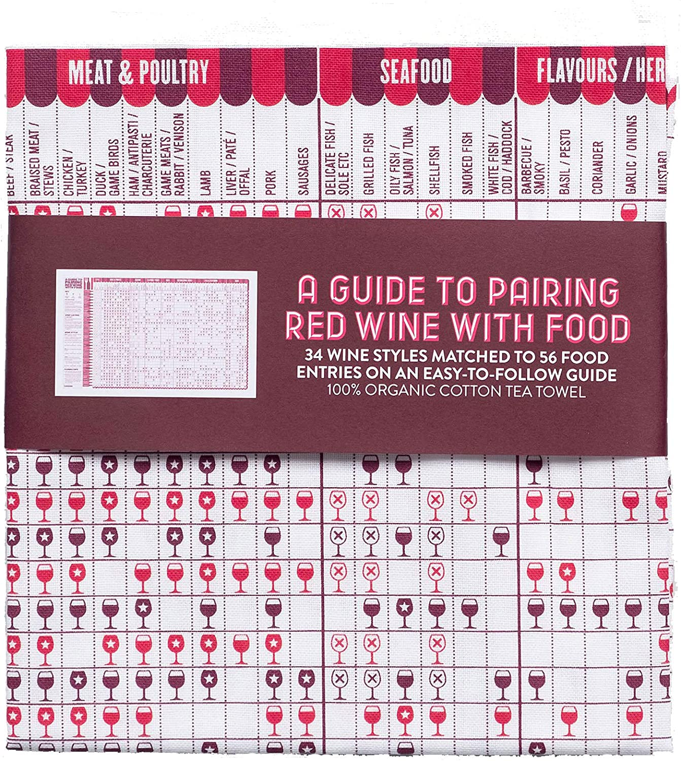 Stuart Gardiner Design A Guide to Pairing Red Wine with Food Tea Towel