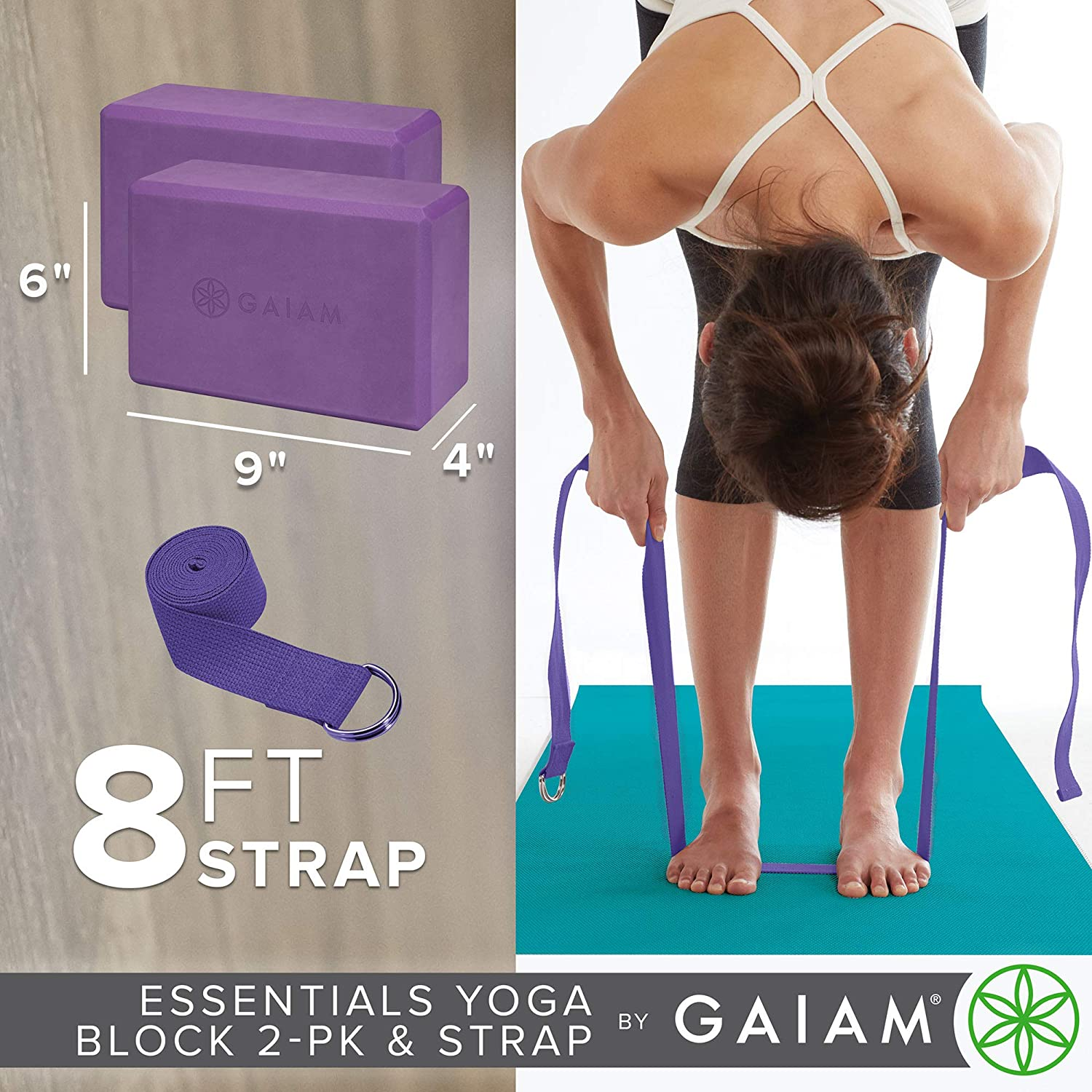 Amazon Com Gaiam Essentials Yoga Block 2 Pack Yoga Strap Set Deep Purple Sports Outdoors